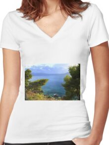 Seacoast Forest - Nature Photography Women's Fitted V-Neck T-Shirt