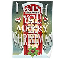 Christmas Card with English Cabin Poster