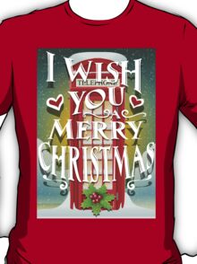 Christmas Card with English Cabin T-Shirt