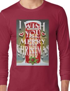 Christmas Card with English Cabin Long Sleeve T-Shirt