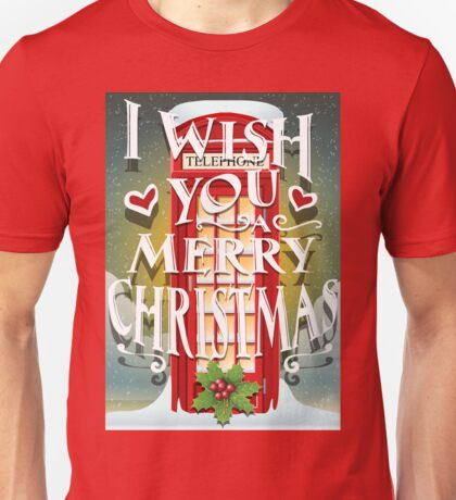Christmas Card with English Cabin Unisex T-Shirt