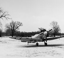 Spitfire in the snow black and white version by Gary Eason + Flight Artworks