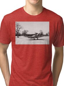 Spitfire in the snow black and white version Tri-blend T-Shirt