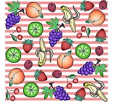 Vibrant Fruit Cocktail Illustrations and Peach Stripes Photographic Print