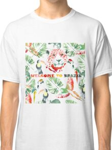 Watercolor  pattern.Welcome to Brazil. Classic T-Shirt