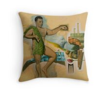 Self-Portrait as David With the Head of the Cubiso-Metaphysical Goliath Throw Pillow