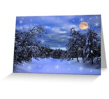 Forest winter night with full moon Greeting Card