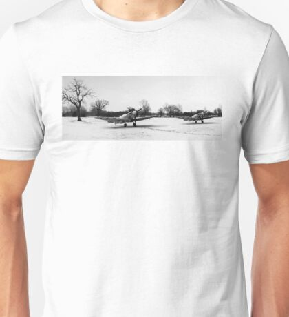 Spitfires in the snow black and white version Unisex T-Shirt