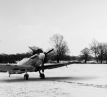 Spitfires in the snow black and white version Sticker