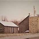 Stone Silo with Old Barn by Graphxpro