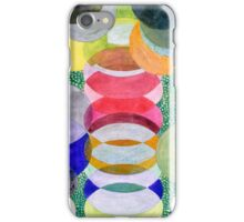 Overlapping Ovals and Circles on Green Dotted Ground iPhone Case/Skin