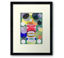 Overlapping Ovals and Circles on Green Dotted Ground Framed Print