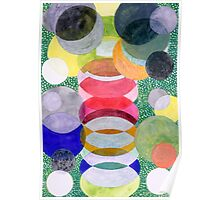 Overlapping Ovals and Circles on Green Dotted Ground Poster