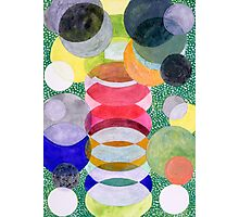 Overlapping Ovals and Circles on Green Dotted Ground Photographic Print