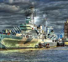 HMS Belfast and Tower Bridge by Anthony Hedger Photography