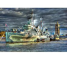 HMS Belfast and Tower Bridge Photographic Print