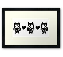 Owls and Hearts  Framed Print