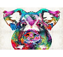 Colorful Pig Art - Squeal Appeal - By Sharon Cummings Photographic Print