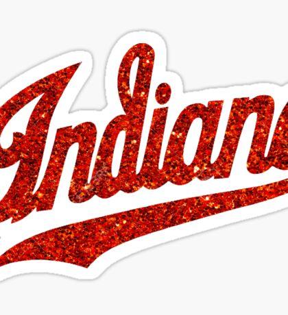 Indiana Script - Red Glitter Sticker