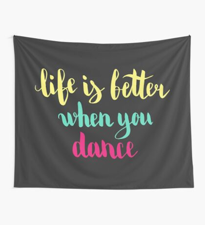 Colorful text on dark background. Wall Tapestry