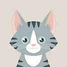 Happy Grey Tabby Cat by Lisa Marie Robinson