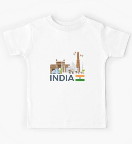 India, skyline. Taj mahal Kids Tee