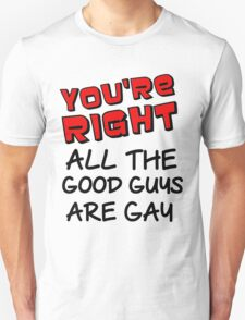 YOU'RE RIGHT ALL THE GOOD GUYS ARE GAY Unisex T-Shirt