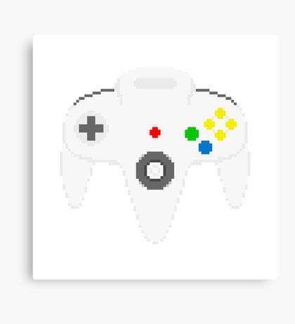 Nintendo 64 controller in pixelart Canvas Print