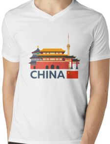 China, Beijing skyline Mens V-Neck T-Shirt