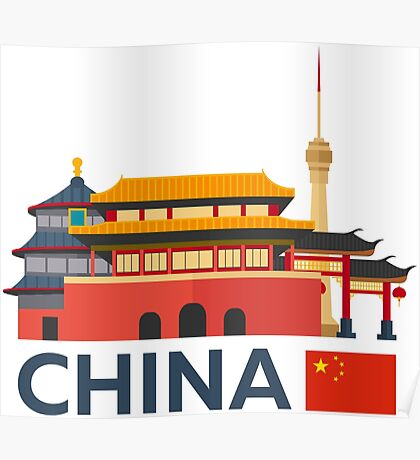 China, Beijing skyline Poster