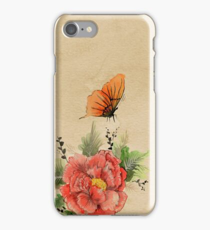 Watercolor flower and butterfly on old parchment paper iPhone Case/Skin