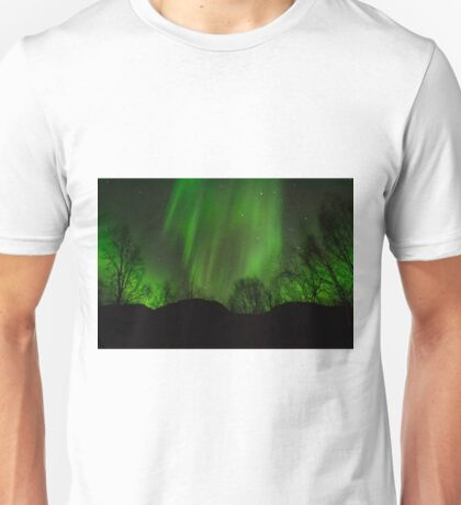 Northern Lights and forest Unisex T-Shirt