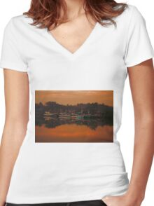 Chumphon river side at sunset, Thailand Women's Fitted V-Neck T-Shirt