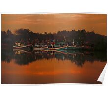 Chumphon river side at sunset, Thailand Poster