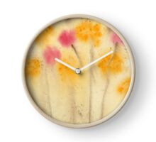 Yellow and Pink Flowers Abstract  Watercolor Print Painting Fine Art Print from Watercolor Painting Abstract Painting Art Watercolor Wall Art Clock