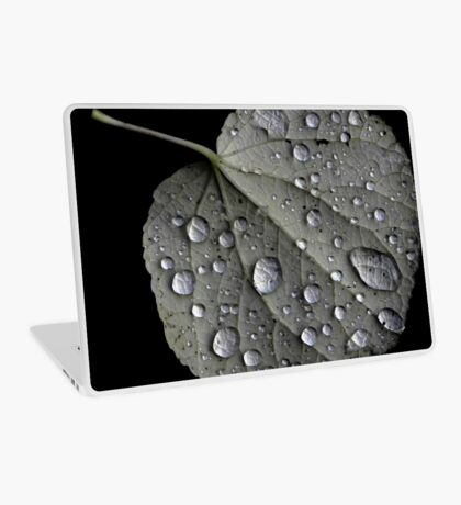 Rain Drops on a Leaf Laptop Skin
