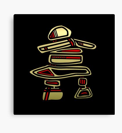 Pacific Northwest Black and Gold Inuksuk Icon Canvas Print