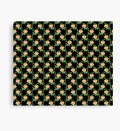 Silly Lucky Cat Pattern Canvas Print