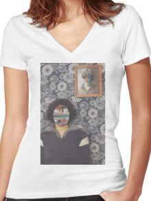 Mirrored on Wall Women's Fitted V-Neck T-Shirt