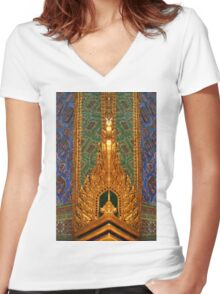 Wat Pho In Bangkok, Thailand Women's Fitted V-Neck T-Shirt