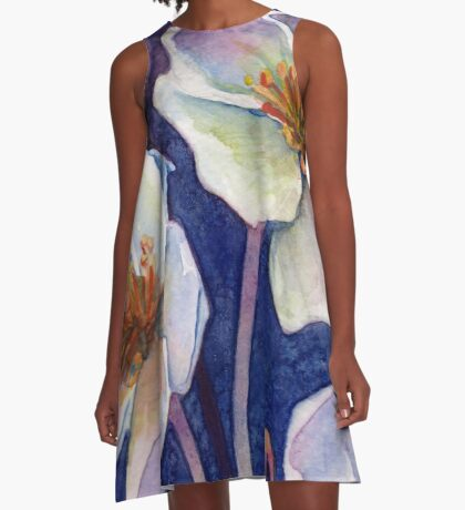White Watercolor Flowers A-Line Dress