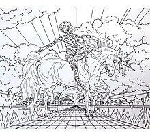 Pointing Elf Jester On A Unicorn, drawing.... Photographic Print