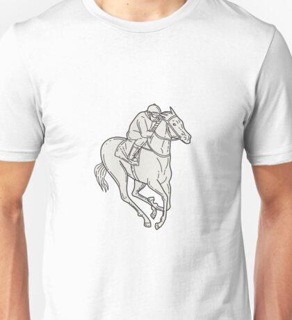 Jockey Riding Thoroughbred Horse Mono Line Unisex T-Shirt