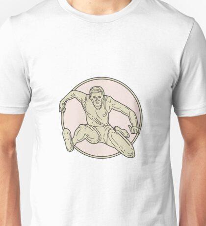 Track and Field Athlete Hurdle Circle Mono Line Unisex T-Shirt