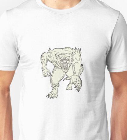 Werewolf Monster Running Mono Line Unisex T-Shirt