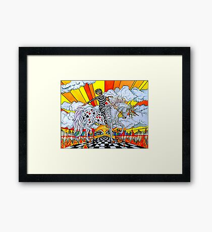 Pointing Elf Jester On A Unicorn Framed Print