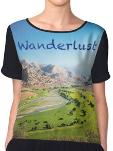 Wanderlust - Travel, Dream, Holidays, Nature, Landscape, Hike, Discover Chiffon Top