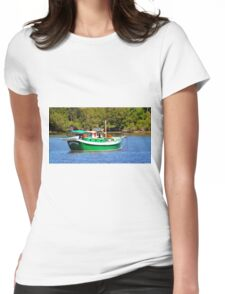 White And Green Boat Womens Fitted T-Shirt