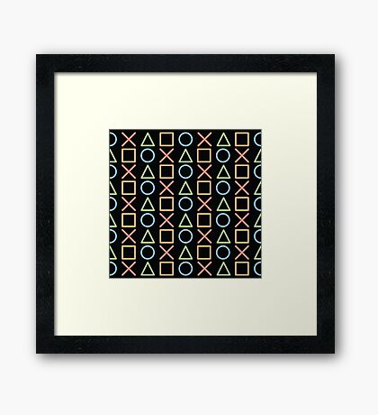 Glowing Playstation Controller Buttons Framed Print