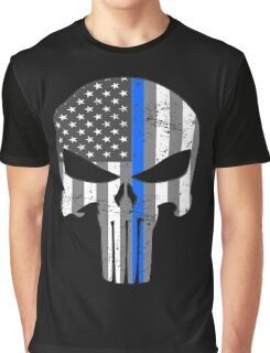 American Skull Thin Blue Line BW  Graphic T-Shirt